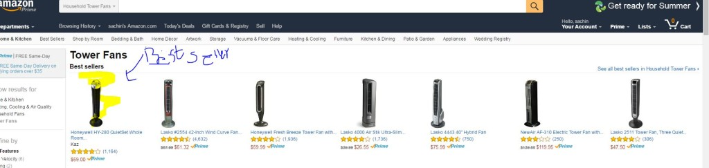 Tower Fan Amazon best sellers