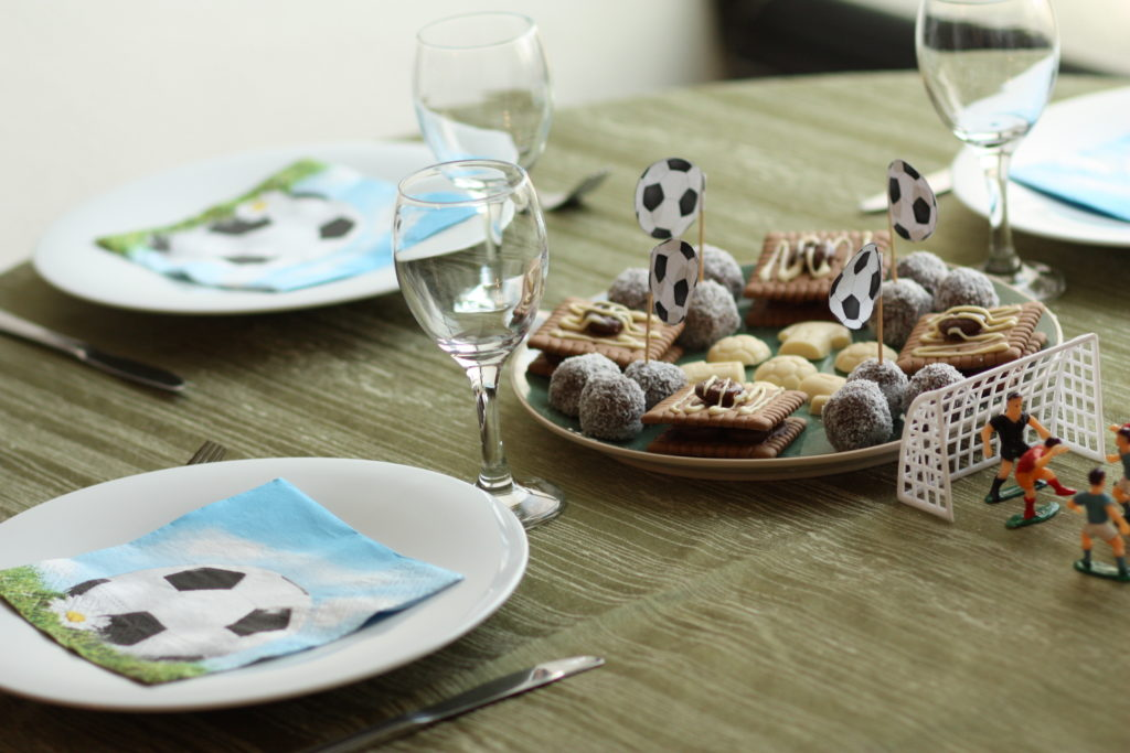 Soccer Table Decoration - Homemade Biscuits and Candies