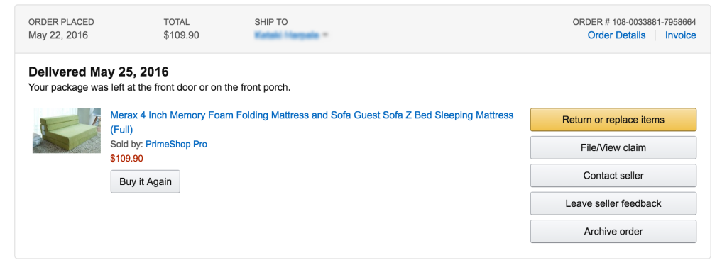 For our Room #1 we bought Memory Foam Folding Mattress