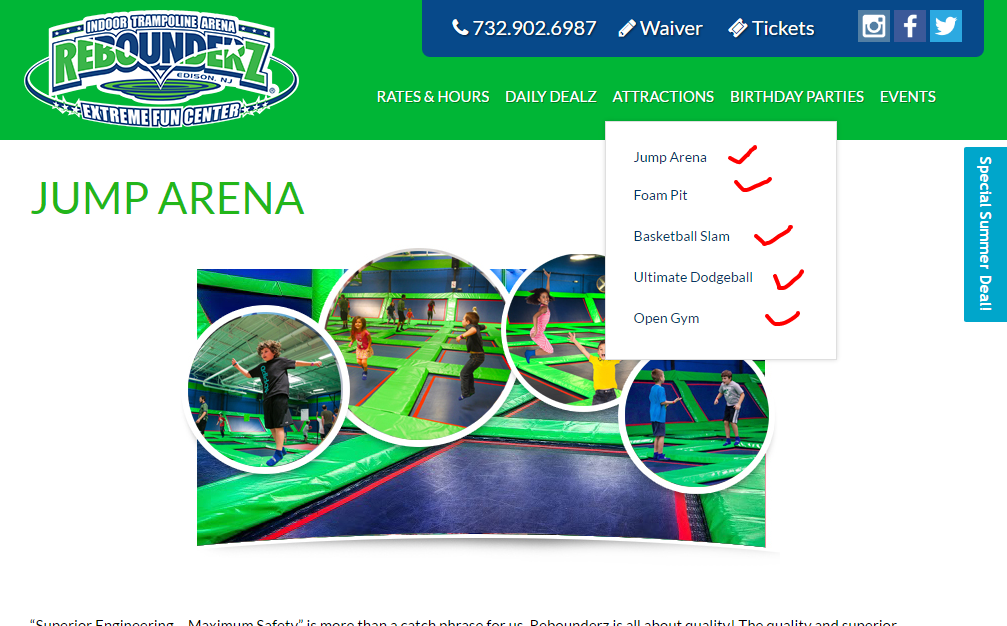 Trampoline arena birthday package