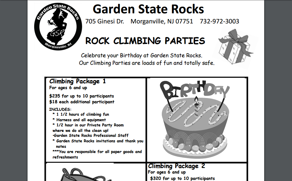Rock Climbing birthday package